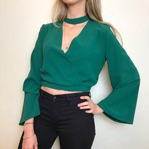 Green cross over crop top bell sleeves Zara NWOT